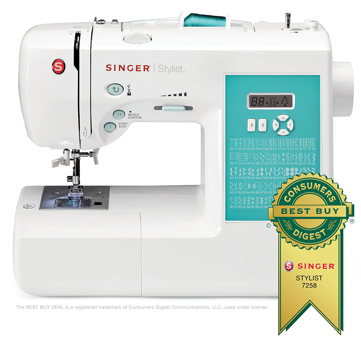 SINGER 7258 Stylist Award-Winning 100-Stitch Computerized Free-Arm Sewing Machine with Instructional DVD and More $129.55