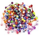 CrazyPiercing Wholesale 14g Tongue Rings Barbells Assorted Colors (100 PCS Acrylic Bar) (Acrylic)
