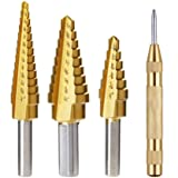Vastar Titanium Step Drill Bit Set, 3-Piece Set & Automatic Center Punch