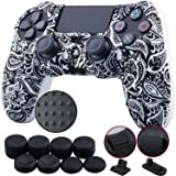 9CDeer 1 Piece of Silicone Studded Water Transfer Protective Sleeve Case Cover Skin + 8 Thumb Grips Analog Caps + 2 dust proof plugs for PS4/Slim/Pro Dualshock 4 Controller, Leaves Black (Color: Leaves Black, Tamaño: printing)