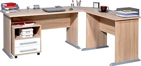Germania 0495-157 Schreibtisch-Winkelkombination mit Rollcontainer, in Sonoma-Eiche-Nachbildung/Weiß, 190 x 75 x 170 cm (BxHxT)