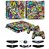 Skins for PS4 slim Controller - Decals for Playstation 4 slim Games - Stickers Cover for PS4 slim Console Sony Playstation Four Accessories with Dualshock 4 Two Controllers Skin - Doodle