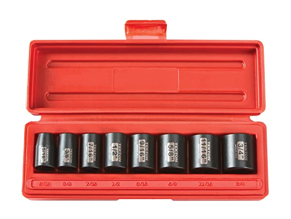 TEKTON 3/8-Inch Drive Shallow Impact Socket Set, Inch, Cr-V, 6-Point, 5/16-Inch - 3/4-Inch, 8-Sockets | 4790
