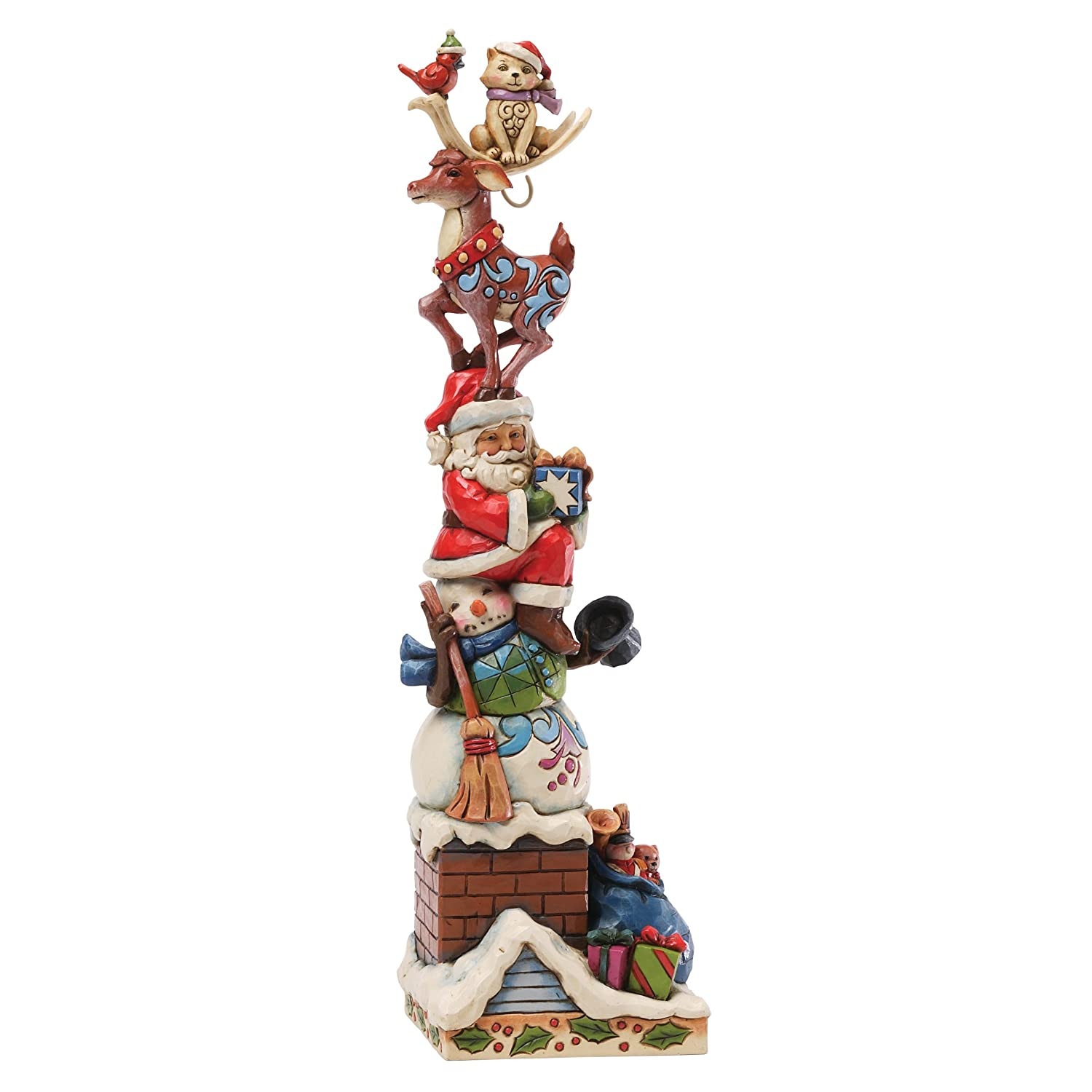 Jim Shore for Enesco Heartwood Creek Holiday Friends on The Rooftop Figurine, 12.5-Inch