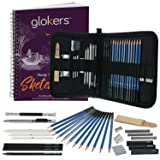 25-Piece Deluxe Art Set by Glokers – Shading, Sketching & Drawing – 100 Sheet Sketch Pad, Eraser, Smudging Stump, Tortillon Drawing Tool, Sandpaper Block and More