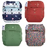 GroVia O.N.E. Reusable Baby Cloth Diaper - 4 Pack (Color Mix 5) (Color: Color Mix 5, Tamaño: One Size)