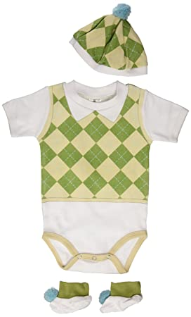 Baby Aspen Three Piece Layette Set in Golf Cart Package, Green/White, 0-6 Mos.