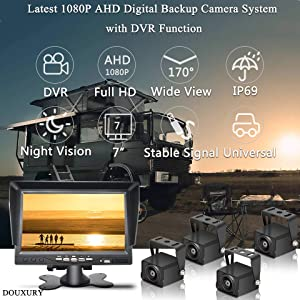DOUXURY Backup Camera System, 4 Split Screen 7'' Quad View AHD 1080P Monitor with DVR Recording Function, IP69 Waterproof 1080P Backup Camera with Sony Sensor for Truck Trailer Heavy Box RV Camper Bus (Color: Black-QuadView, Tamaño: large)