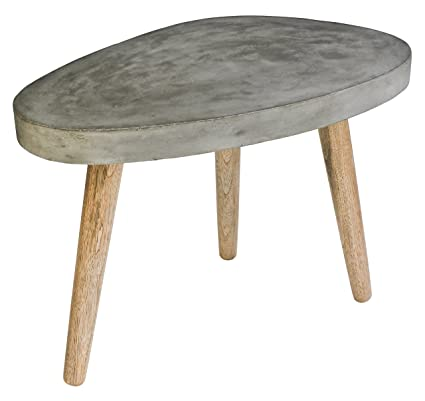 Sit-Möbel 9970-13 tavolino da salotto Cement, 72 x 50 x 52 cm, gambe in legno di quercia, piastra leggero calcestruzzo, grigio
