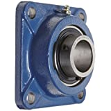 SKF FY 1.1/2 TF Ball Bearing Flange Unit, 4 Bolts, Setscrew Locking, Regreasable, Contact and Flinger Seal, Cast Iron, Inch, 1-1/2