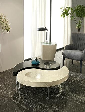 Stones Yin & Yang Tavolino, Fossile White Agata/Black Stone, Bianco/Nero, 108 x 108 x 31 cm