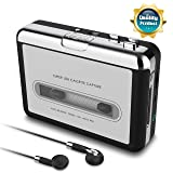 USB Cassette Tape to MP3 Converter,2019 Upgrade Version Portable CD Music/Walkman Tapes Recorder Digital Audio Music Player Earphone (Color: Silver)