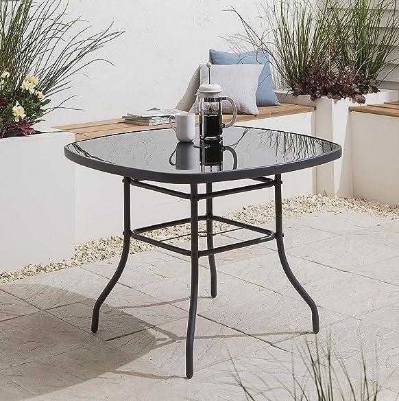 Tesco Siviglia Tavolo da giardino 4  posti con telaio in acciaio e vetro, colore grigio