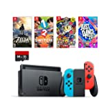 Nintendo Switch 6 items Bundle:Nintendo Switch 32GB Console Neon Red and Blue Joy-con,64GB Sd Card,4 Game Disc1-2-Switch Just Dance2017 The Legend of Zelda Super Bomberman R