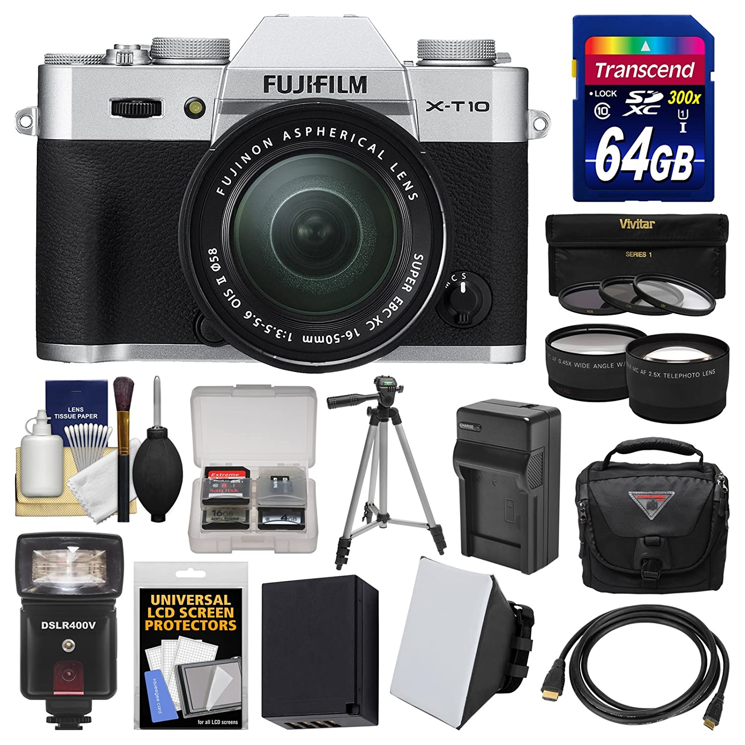 Fujifilm X-T10 Digital Camera & 16-50mm II XC Lens (Silver) with 64GB Card + Case + Flash + Battery & Charger + Tripod + Tele/Wide Lens Kit