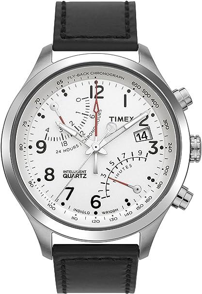 Timex Men's T2N701 Intelligent Quartz SL Series Fly-Back Chronograph Black Leather Strap Watch-奢品汇 | 海淘手表 | 腕表资讯