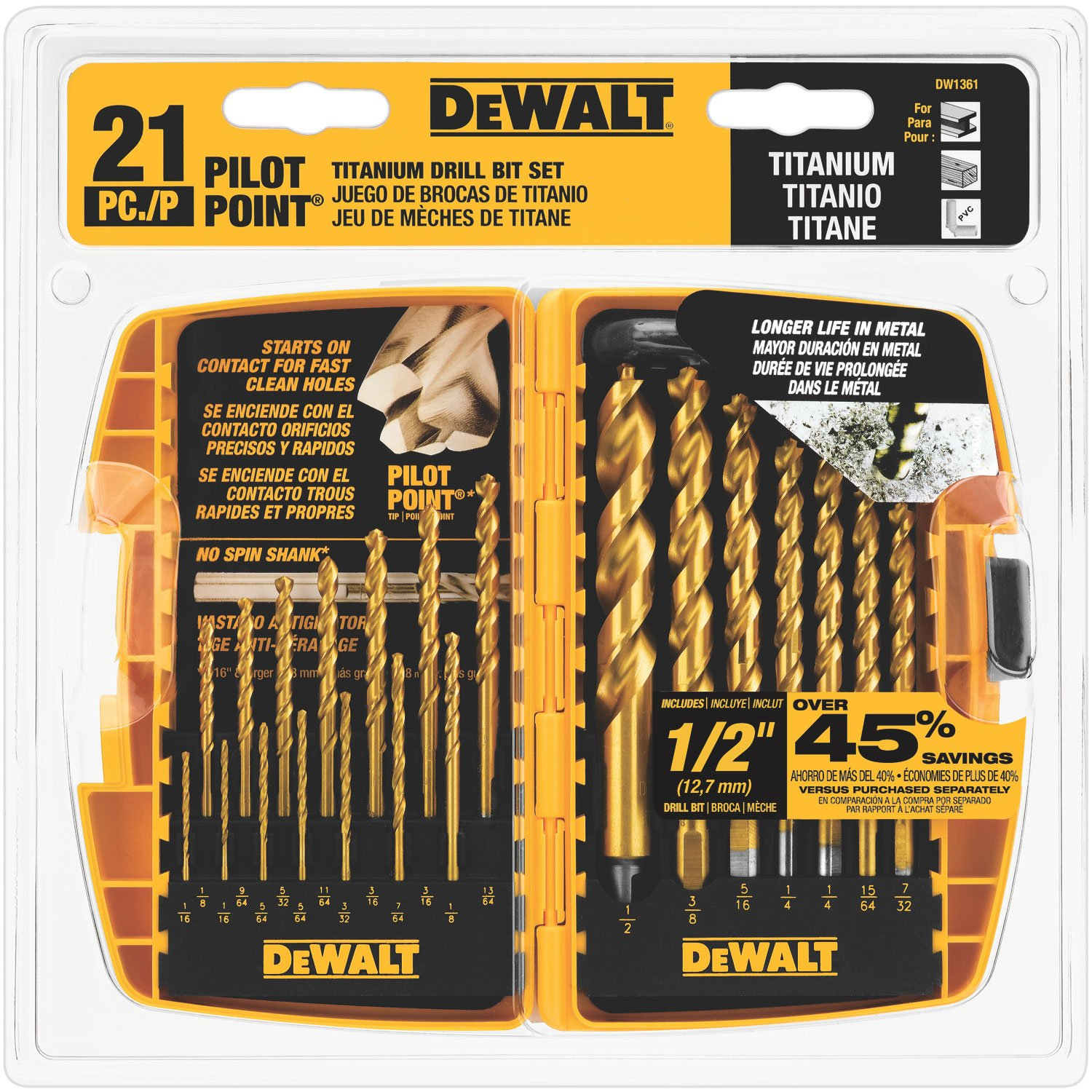 DEWALT DW1361 Titanium Pilot Point Drill Bit Set, 21-Piece $24.97