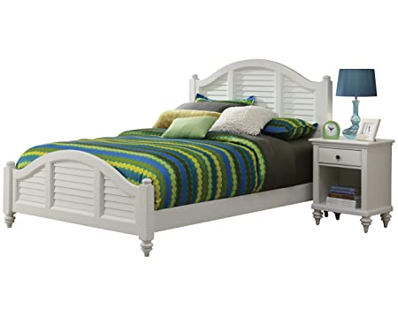 Home Styles Bermuda Queen Bed and Night Stand, White Finish