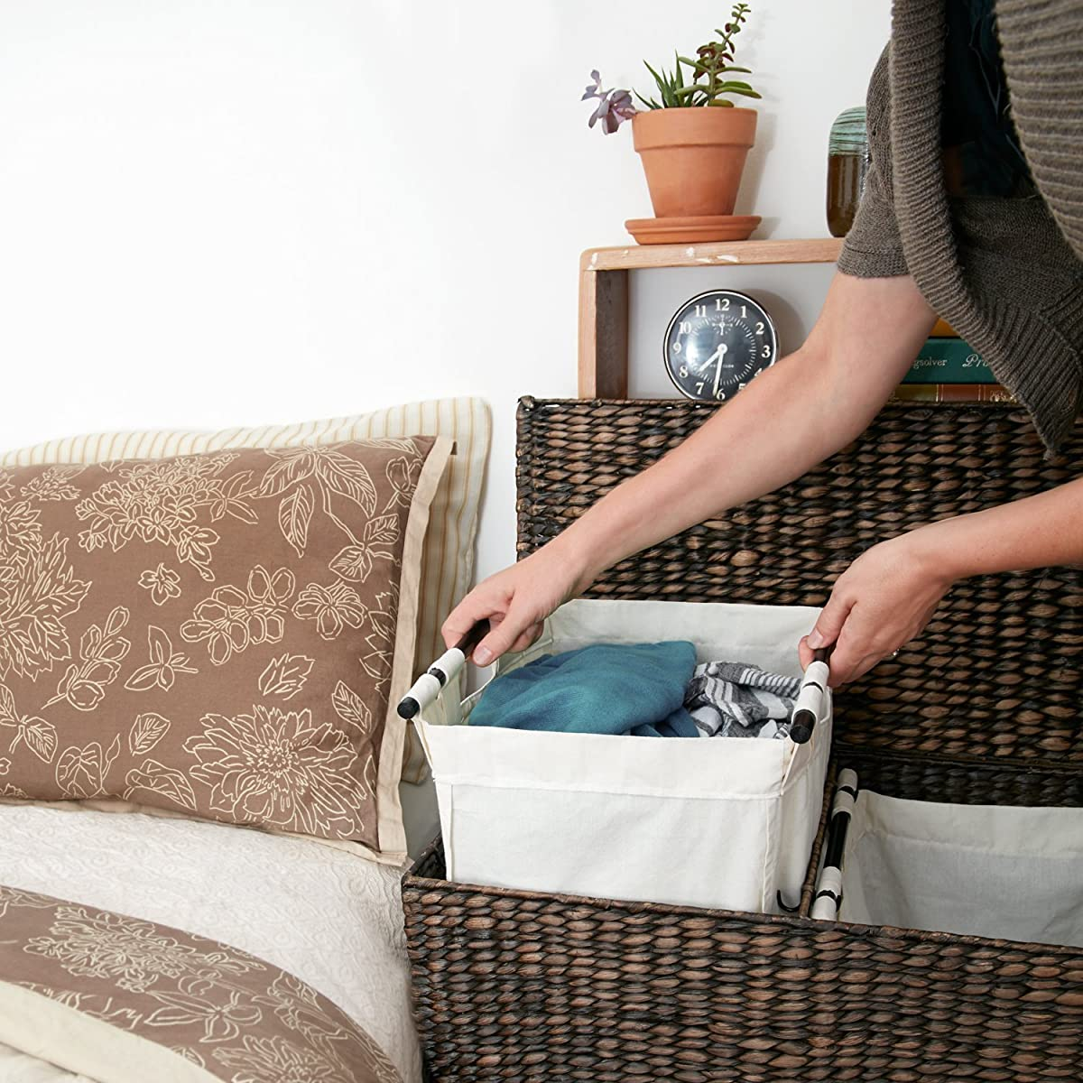 Designer Wicker Laundry Hamper With Divided Interior And