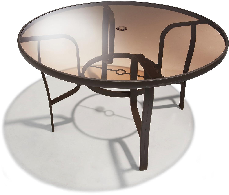 48in Round Dining Table Outdoor Umbrella Hole Aluminum