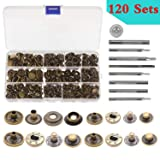 Aiskaer 120 Sets Snap Fasteners Kit, Metal Snap Buttons Press Studs with 9 Pieces Fixing Tools, Bronze Clothing Snaps Kit for Leather, Coat, Down Jacket, Jeans Wear and Bags (Color: Mix)