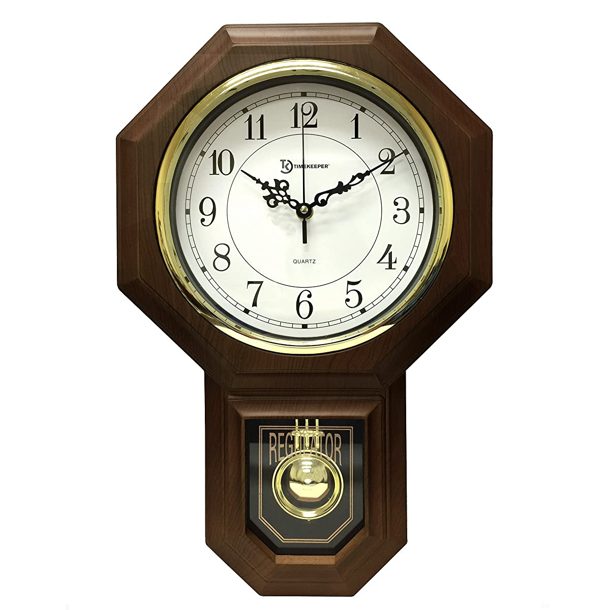 """17.5"""" x 11.25"""" Essex Westminster Chime Faux Wood Pendulum Wall Clock, Walnut"""