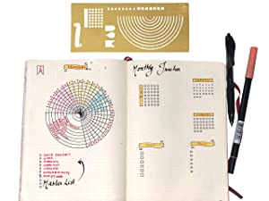 Stainless Steel Stencil I Ruler Semi Circle Habit Tracker Template I Great for Bullet Journal Calendar Notebook Agenda I Scrapbook Album Craft Supplies for Adults Kids Stencil (Gold) (Color: GOLD)