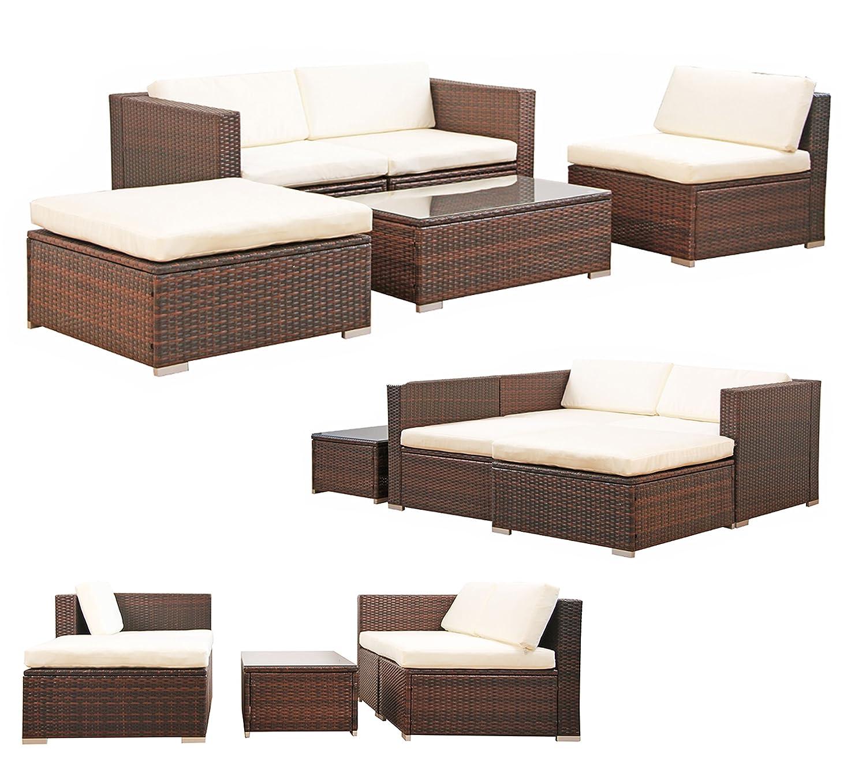 POLY RATTAN Lounge Gartenset BRAUN Sofa Garnitur Polyrattan Gartenmöbel Neu bestellen