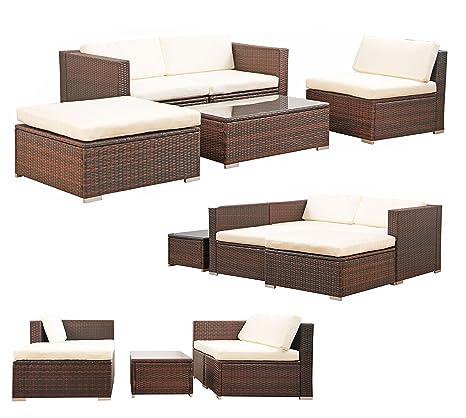 POLY RATTAN Lounge Gartenset BRAUN Sofa Garnitur Polyrattan Gartenmöbel Neu