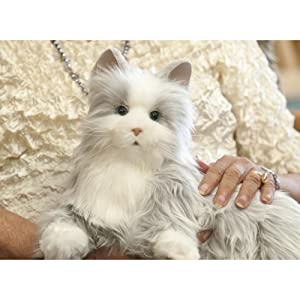 Ageless Innovation | Joy For All Companion Pets | Silver Cat with White Mitts | Lifelike & Realistic | Comfort, Joy & Companionship (Color: Silver With White Mitts)