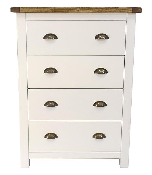 Armadio a cassetti Petite petto con manico in ottone, legno, bianco