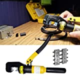 PENSON CAYQK007010 Hydraulic Wire Battery Cable Lug Terminal Crimper Crimping Tool, 9 Dies, 10 Ton (Color: Yellow)