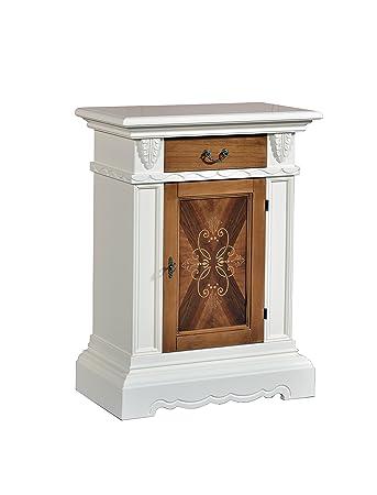 Credenzina / Porta telefono in legno finitura avorio e noce grano, con cassetto e anta intarsiata 70x93