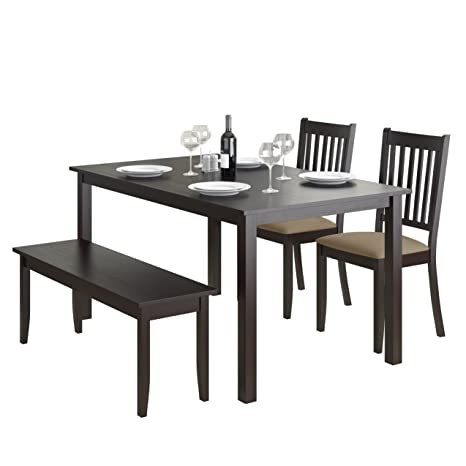 CorLiving 4 Piece DRG-795-Z2 Atwood Dining Set with Stained Bench and Set of Chairs, Cappuccino