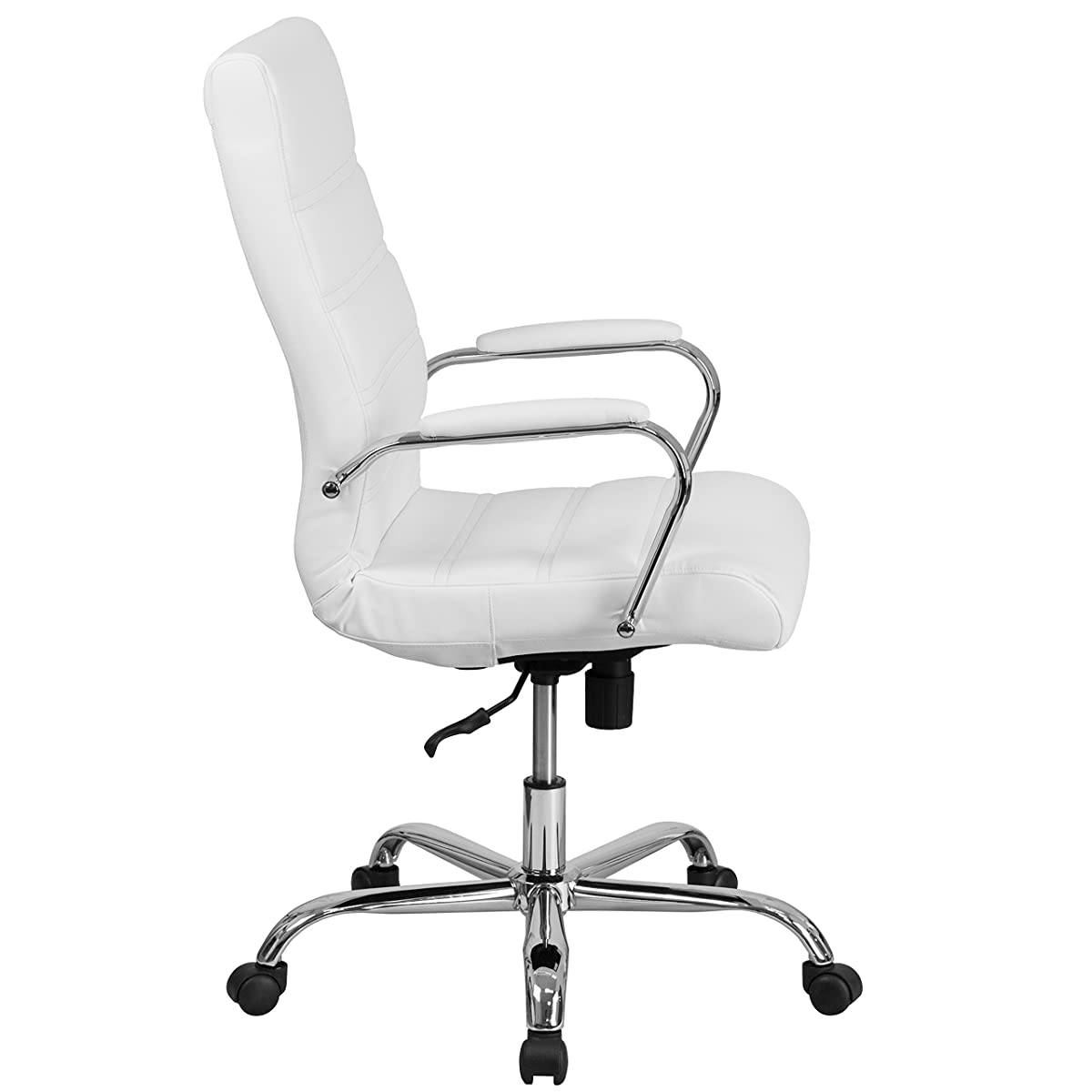 Flash Furniture High Back White Leather Executive Swivel Chair with Chrome Base and Arms