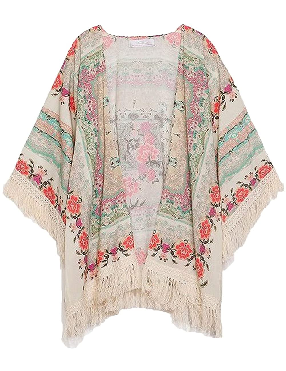 New Vintage Flower Tassels Shawl Cardigan Chiffon Kimono Cardigan Coats Jackets (XL) 0