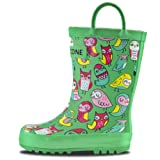 LONECONE Rain Boots with Easy-On Handles in Fun Patterns for Toddlers and Kids, Hoot-y Boots, Little Kid 11