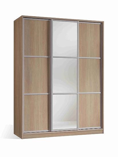 Armario ropero con espejos color cambrian de 3 puertas correderas, estantes regulables, molduras decorativas para dormitorio. 200cm alto x 150cm ancho x 62cm fondo
