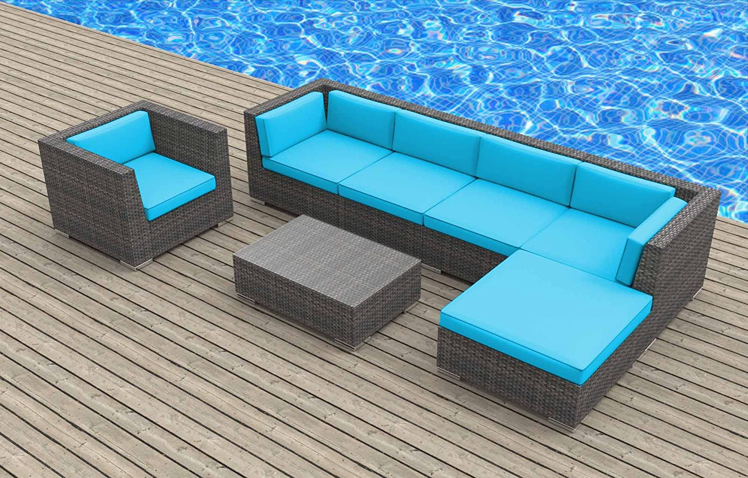 www.urbanfurnishing.net Urban Furnishing - LANAI 7pc Modern Outdoor Backyard Wicker Rattan Patio Furniture Sofa Sectional Couch Set - Sea Blue at Sears.com