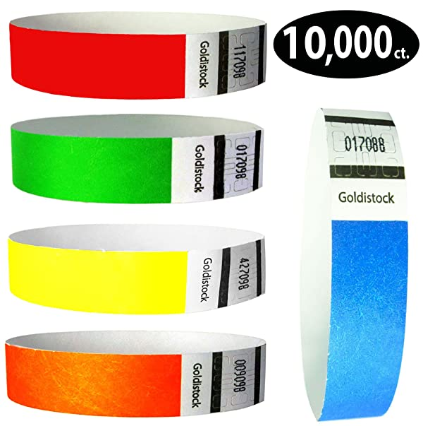 Purple Black 2 3 Shades Goldistock 3//4 Tyvek Wristbands Top Twenty Variety Pack 20 Colors 400 Ct.- Green Blue Red 2 2 Silver Gold Aqua 2 2 Shades White Orange Teal Yellow Pink