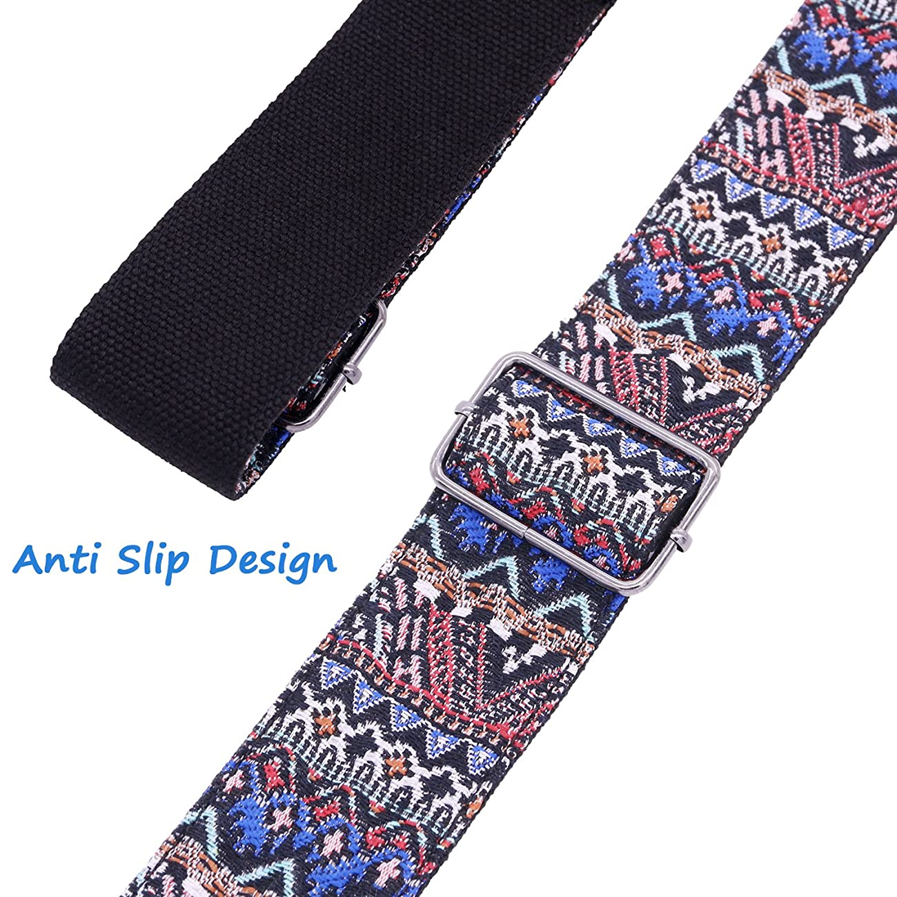 Anwenk Guitar Strap Acoustic Guitar Strap Bass Guitar Strap Woven Hootenanny Style Cool Vintage Pattern with Pick Pocket ,, Leather Ends, 3 Pcs of Guitar Picks, Ties for Acoustic Guitars 3