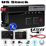 Super Power Inverter 2000 Watt DC 12V To AC 110W Car/Truck Electronic Converter With Digital Display + 2 US Standard Sockets + 4 USB Charging Ports + 2 Cigarette Holder Sockets For Laptop RV Travel