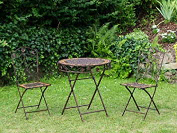 Mesa y 2 sillas de hierro forjado de hierro muebles de jardín de piedra marrón