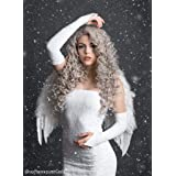 Imstyle Grey Silver Lace Front Wigs Curly Long Wave High Density Synthetic Hair for Women Drag Queen Cosplay Party Lace Frontal Wigs Pre Plucked Heat Resistant (Color: Curly Grey, Tamaño: Curly)