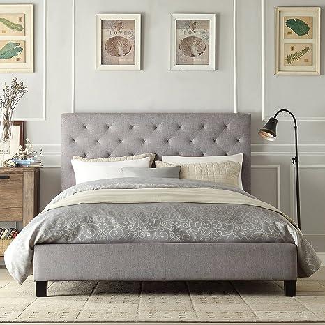 Metro Shop INSPIRE Q Kingsbury Grey Linen Tufted Upholstered Platform Bed-Queen Bed