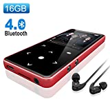 Bluetooth 4.0 MP3 Player,Valoin 16G 2.4 Inch HD Screen Lossless Sound Digital MP3 Player with FM Radio/Voice Recorder/E Book,Support Up to 64G TF Card (Red) (Color: Red)