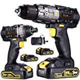 Cordless Impact Driver 1500In-lbs Max & Impact Drill/Driver 530In-lbs Max 20V Combo Kit with 2 pcs 2.0Ah Lithium-Ion Batteries, 30-Minute Quick Charger, 29pcs Accessories - TECCPO TDCK01P (Color: TDHD01P Hammer Drill+TDID01P Impact Driver)