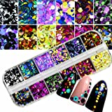 Nail Art Tips Stickers Hosamtel Colorful Glitter 3D Laser Makeup Manicure DIY Decals Decoration (Color: colorful)