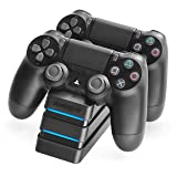 Snakebyte PS4 Twin Charge 4 - Twin Docking Station for 2 PlayStation 4 Dualshock Controller / Gamepad - Dual Charger, PlayStation 4 Charging Station for Sony Playstation4 / PS4 / PS4 Slim / PS4 Pro Controller, Black (Color: Black)