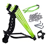 NOBONDO Strong Folding Wrist Rocket Slingshot - Heavy Duty Adjustable Stainless Steel Wrist Brace Hunting Catapult with 2 Rubber Bands and 100 Ammo Balls (Color: Black, Tamaño: Medium)